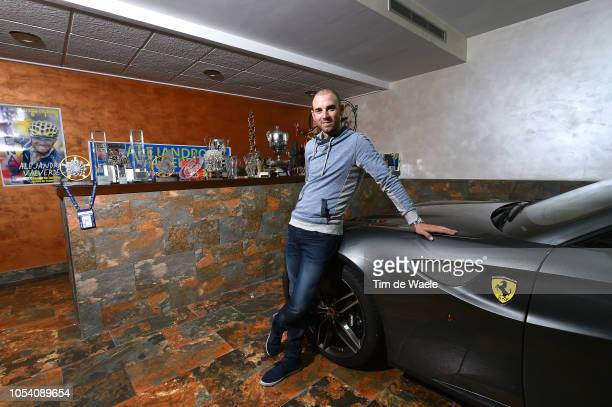 Alejandro Valverde of Spain and Team Movistar posing at his house / Ferrari car / in Murcia on January 1, 2018 in Murcia, Spain.