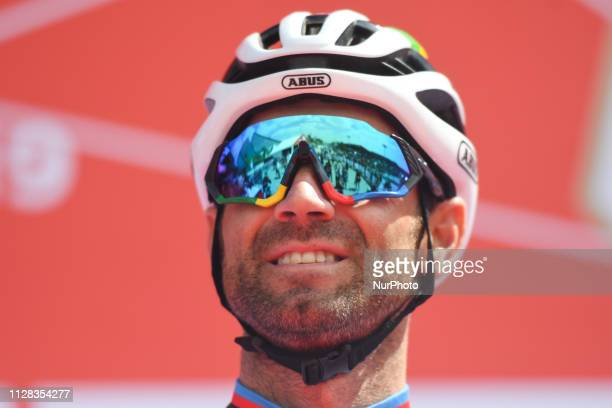 Alejandro Valverde of Spain and Team Movistar seen at the start line of the seventh and final stage Dubai Stage of the UAE Tour 2019 a 145km with a...