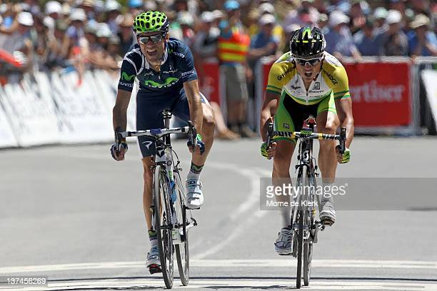 Alejandro Valverde of Spain and the Movistar Team just edges out Simon Gerrans of Australia and the Greenedge team during stage five of the 2012 Tour...