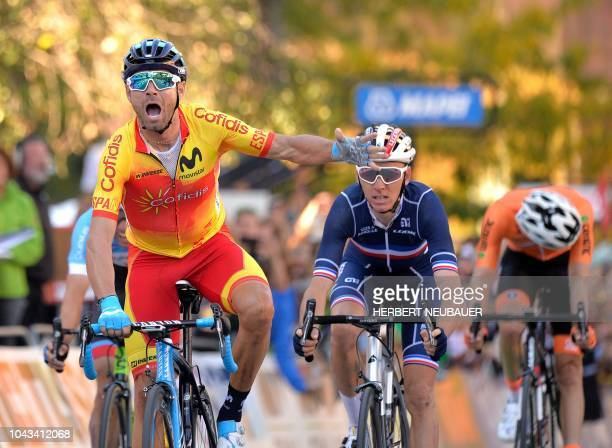 Alejandro Valverde of Spain celebrates as he wins the Men's Elite road race of the 2018 UCI Road World Championships in Innsbruck Austria on...