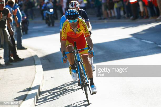 Alejandro Valverde of Spain / during the Men Elite Road Race a 2585km race from Kufstein to Innsbruck 582m at the 91st UCI Road World Championships...