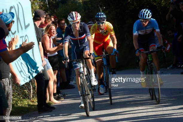 Alejandro Valverde of Spain / Michael Woods of Canada / Romain Bardet of France / during the Men Elite Road Race a 2585km race from Kufstein to...