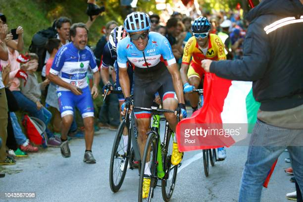 Alejandro Valverde of Spain / Michael Woods of Canada / Romain Bardet of France / Fans / Public / during the Men Elite Road Race a 2585km race from...