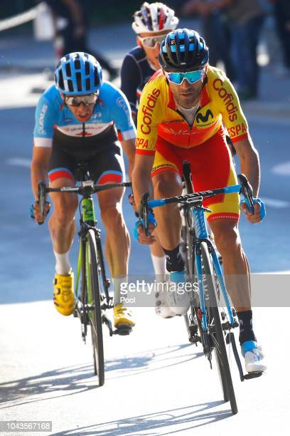 Alejandro Valverde of Spain / Michael Woods of Canada / Romain Bardet of France / during the Men Elite Road Race a 258,5km race from Kufstein to...