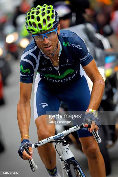 Alejandro Valverde of Spain riding for Movistar makes the climb to Peyragudes en route to winning stage seventeen of the 2012 Tour de France from...
