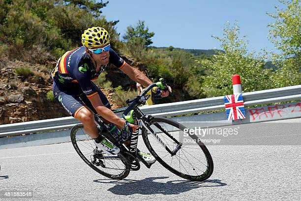 Alejandro Valverde of Spain riding for Movistar Team descends the Col des Leques as he races into third place overall during stage 17 of the 2015...