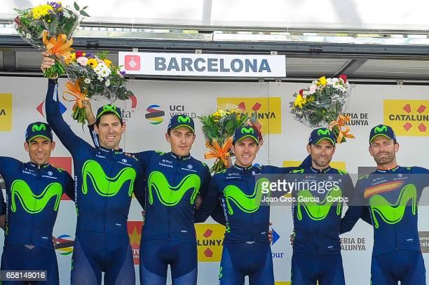 Alejandro Valverde, Ruben Fernandez, Marc Soler, Jose Rojas, Imanol Erviti, Nelson Oliveira, of Movistar Team, celebrating the Movistar Team victory...
