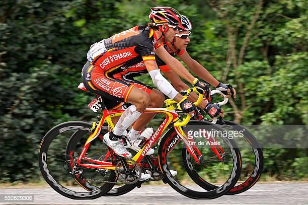 Alejandro Velverde and Oscar Pereiro Sio during stage 9 of the 2008 Tour de France between Toulouse and Bagneres -de-Bigorre.