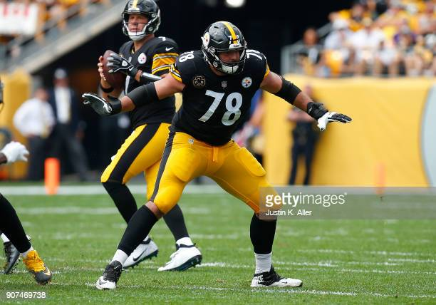 Alejandro Villanueva of the Pittsburgh Steelers in action against the Minnesota Vikings on September 17 2017 at Heinz Field in Pittsburgh Pennsylvania