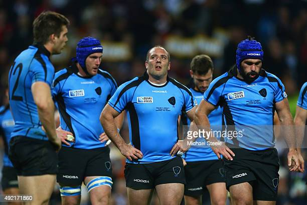 Alejo Corral of Uruguay looks dejected during the 2015 Rugby World Cup Pool A match between England and Uruguay at Manchester City Stadium on October...