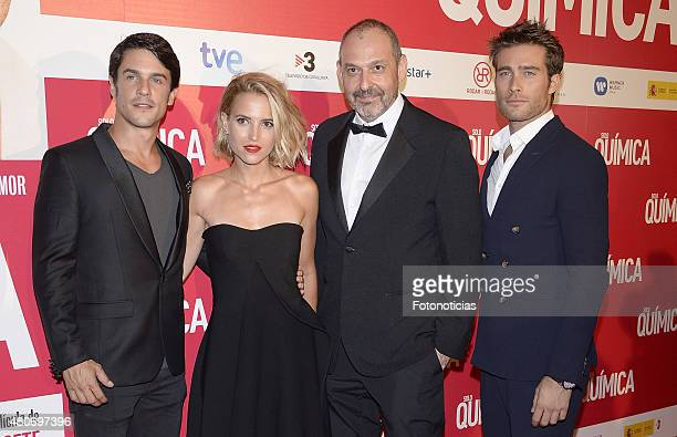 Alejo Sauras Ana Fernandez Alfonso Albacete and Rodrigo Guirao attend the 'Solo Quimica' Premiere at Palafox Cinema on July 14 2015 in Madrid Spain