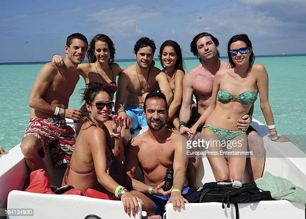 Alejo Sauras Silvia Alonso Miguel Abellan Hiba Abouk guestDafe Fernandez and Mireia Canalda are seen on the beach on February 23 2013 in Punta Cana...