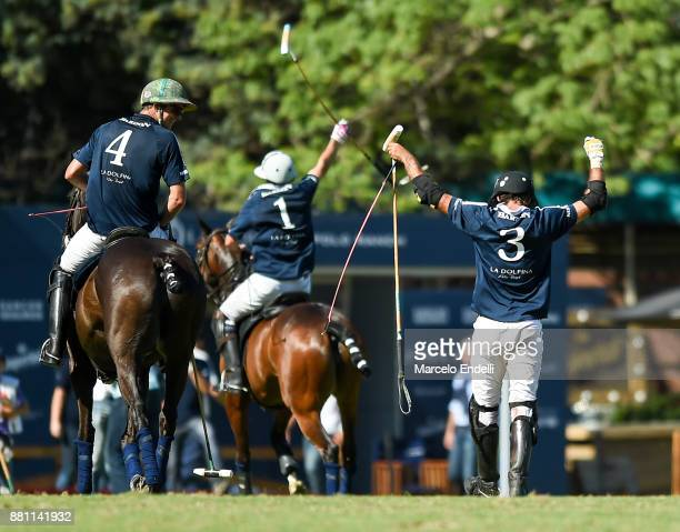 Alejo Taranco Diego Cavanagh and Ignatius du Plessis of La Dolfina Polo Ranch celebrate the qualification to the Argentina Polo Open 2018 after...