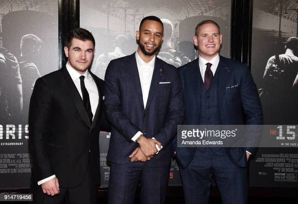 Alek Skarlatos Anthony Sadler and Spencer Stone arrive at the premiere of Warner Bros Pictures' The 1517 To Paris at Warner Bros Studios on February...