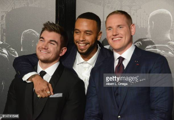 Alek Skarlatos Anthony Sadler and Spencer Stone arrive for the Premiere Of Warner Bros Pictures' The 1517 To Paris held at Steven J Ross...