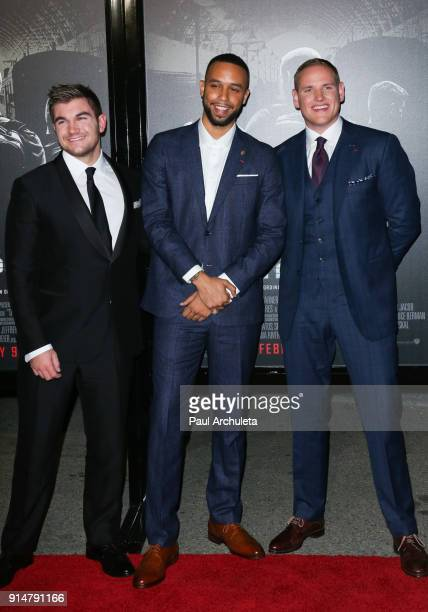 Alek Skarlatos Anthony Sadler and Spencer Stone attend the premiere of The 1517 To Paris at Warner Bros Studios on February 5 2018 in Burbank...