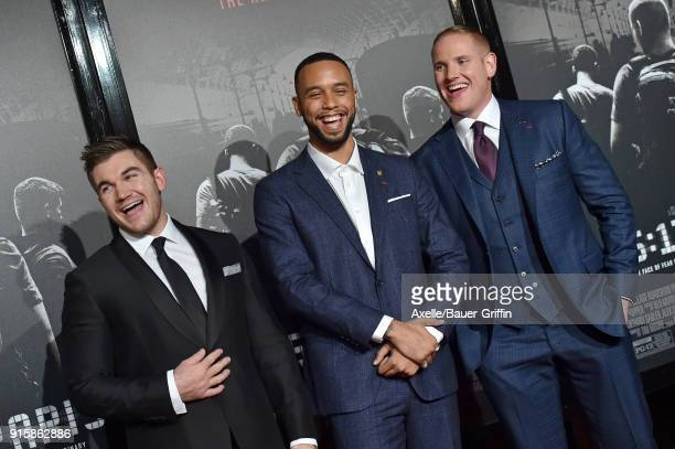 Alek Skarlatos Anthony Sadler and Spencer Stone attend the premiere of 'The 1517 to Paris' at Warner Bros Studios on February 5 2018 in Burbank...