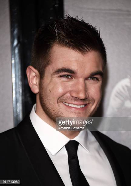 Alek Skarlatos arrives at the premiere of Warner Bros Pictures' The 1517 To Paris at Warner Bros Studios on February 5 2018 in Burbank California