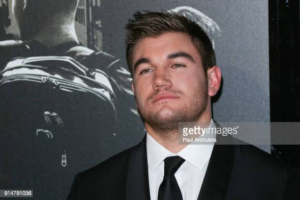 Alek Skarlatos attends the premiere of The 1517 To Paris at Warner Bros Studios on February 5 2018 in Burbank California