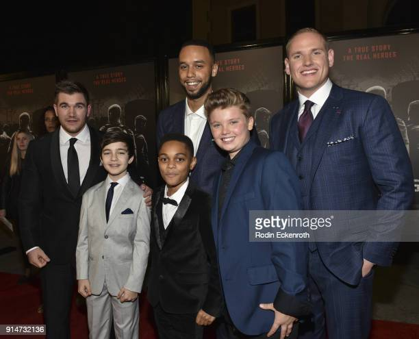 Alek Skarlatos Bryce Gheisar PaulMikel Williams Anthony Sadler William Jennings and Spencer Stone arrive at the premiere of Warner Bros Pictures' The...
