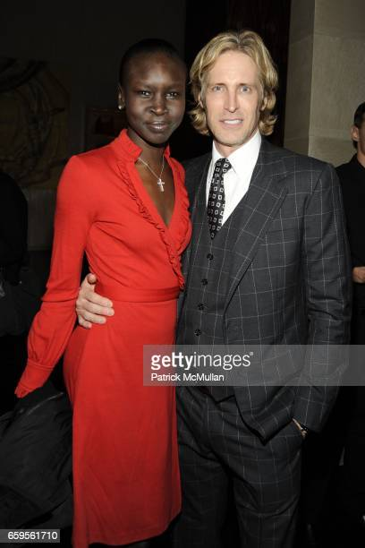 Alek Wek and Bruce Hoeksema attend Gwyneth Paltrow and VBH's Bruce Hoeksema Host Cocktail Party for Valentino The Last Emperor at VBH on October 27...