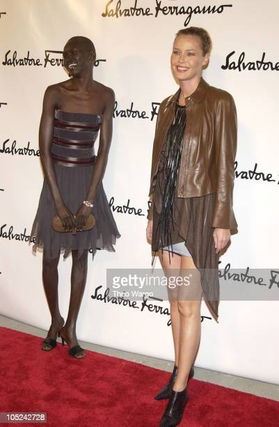 Alek Wek and Connie Nielsen during Salvatore Ferragamo Flagship Store Opening and Art Exhibition in New York City at Salvatore Ferragamo 5th Avenue...