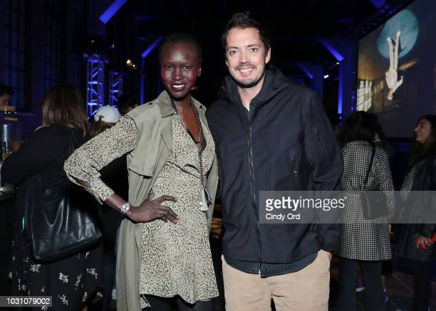 Alek Wek and Marcus Wainwright attend the screening of the rag bone film Time Of Day at The High Line on September 10 2018 in New York City