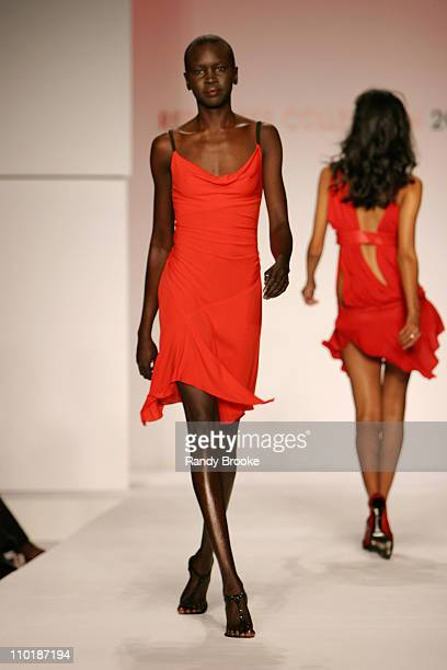 Alek Wek and Ujjawalla Raut wearing designs for The Heart Truth