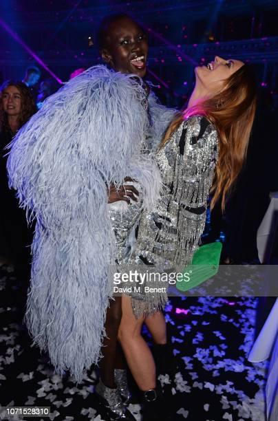 Alek Wek and Yasmin Le Bon attend The Fashion Awards 2018 in partnership with Swarovski after party at the Royal Albert Hall on December 10 2018 in...