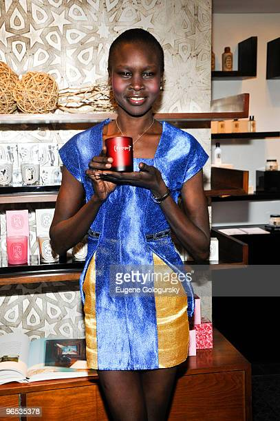 Alek Wek attends the and Diptyque special edition partnership launch at the Diptyque Store on February 9 2010 in New York City