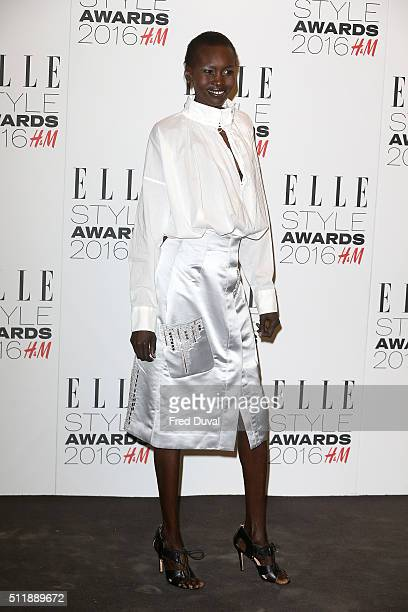 Alek Wek attends the Elle Style awards 2016 on February 23, 2016 in London, England.