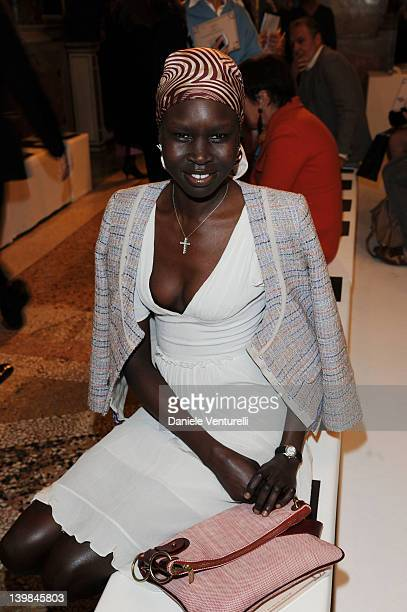 Alek Wek attends the Emilio Pucci Autumn/Winter 2012/2013 fashion show as part of Milan Womenswear Fashion Week on February 25 2012 in Milan Italy