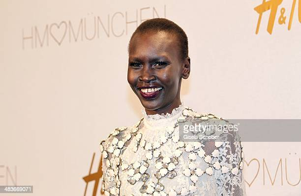 Alek Wek attends the HM store opening on April 9 2014 in Munich Germany