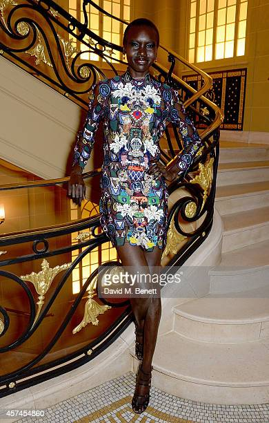 Alek Wek attends the Sindika Dokolo Art Foundation dinner at Cafe Royal on October 18 2014 in London England