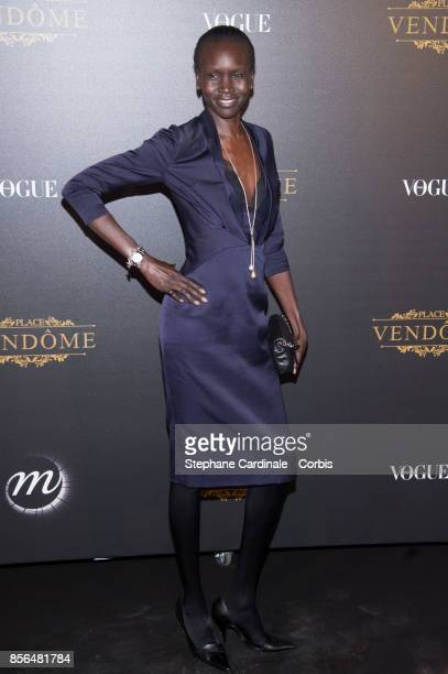 Alek Wek attends Vogue Party as part of the Paris Fashion Week Womenswear Spring/Summer 2018 at on October 1 2017 in Paris France
