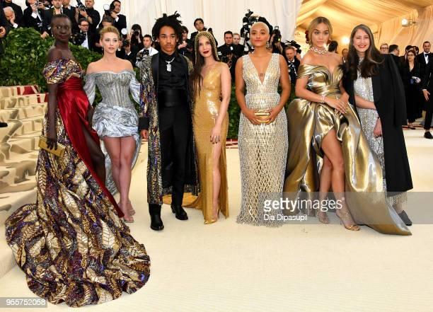 Alek Wek, Lili Reinhart, Luka Sabbat, Olivia Munn, Kiersey Clemons, Jasmine Sanders, and Valerie Messika attend the Heavenly Bodies: Fashion & The...