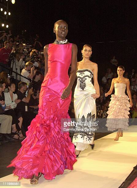 Alek Wek modeling Oscar de la Renta during MercedesBenz Fashion Week Spring Collections 2003 Oscar de la Renta Show Runway and Front Row in New York...