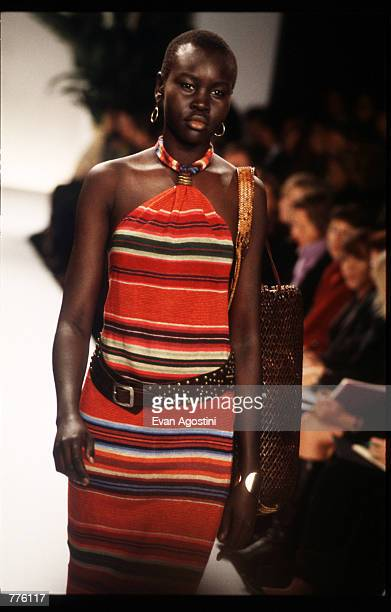 Alek Wek models a dress from Ralph Lauren Spring 97 collection at the 7th on Sixth Fashion Show October 30 1996 in New York City Ralph Lauren became...
