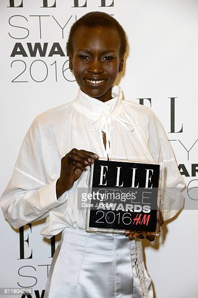 Alek Wek poses with the HM Conscious Award in the winners room at The Elle Style Awards 2016 at tate britain on February 23 2016 in London England