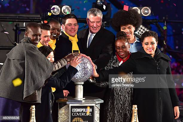 Alek Wek, Sonam Lama, Jencarlos Canela, Nykhor Paul, David Miliband, New York City Mayor Bill de Blasio, Chirlane McCray, Dante De Blasio and Chiara...