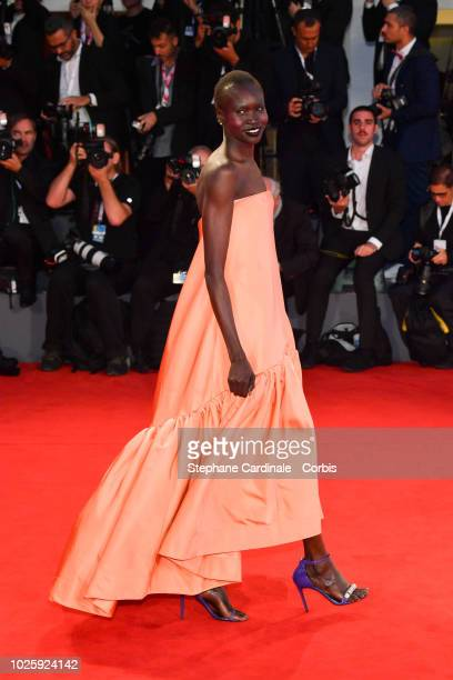 Alek Wek walks the red carpet ahead of the 'Suspiria' screening during the 75th Venice Film Festival at Sala Grande on September 1 2018 in Venice...