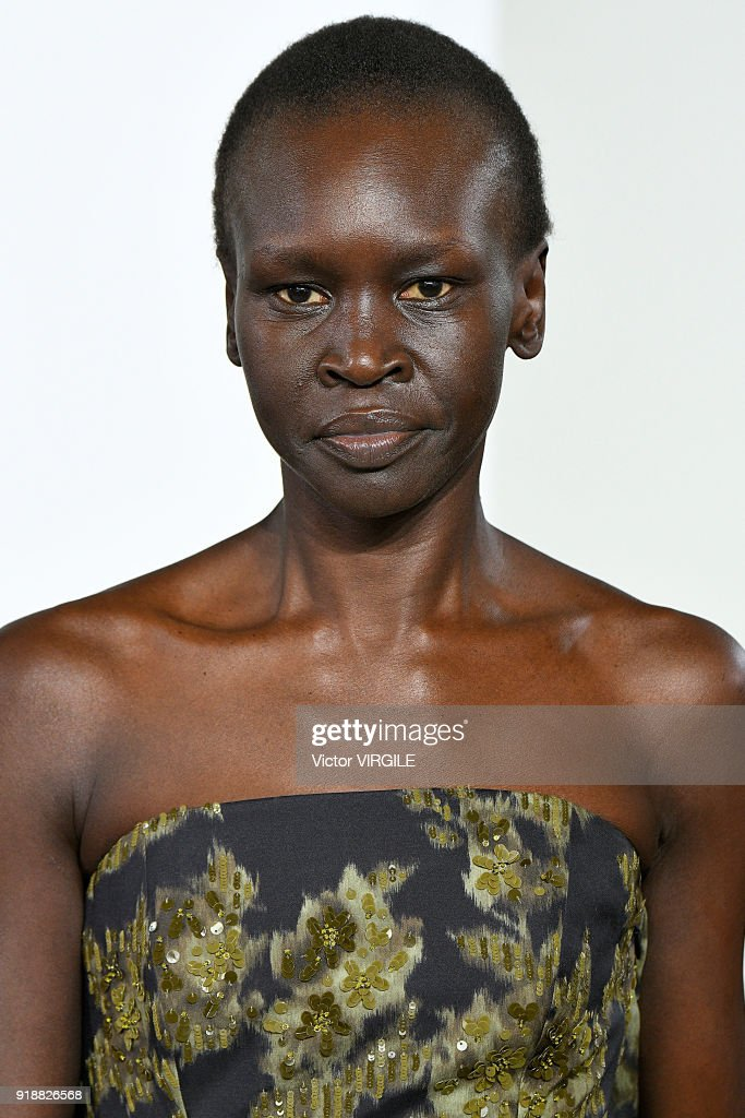 Alek Wek walks the runway at the Michael Kors Ready to Wear Fall/Winter 2018-2019 fashion show during New York Fashion Week on February 14, 2018 in New York City.