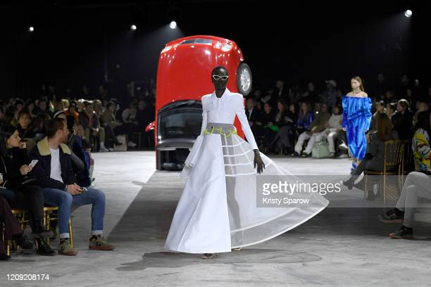Alek Wek walks the runway during the Off-White show as part of Paris Fashion Week Womenswear Fall/Winter 2020/2021 on February 27, 2020 in Paris,...
