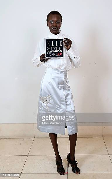 Alek Wek winner of the HM Conscious Award poses in the winners room at The Elle Style Awards 2016 on February 23 2016 in London England