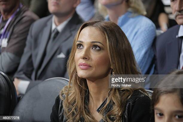 Aleka Kamila wife of former Sacramento King Peja Stojakovic watches the Sacramento Kings take on the Oklahoma City Thunder at Sleep Train Arena on...