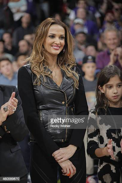 Aleka Kamila wife of former Sacramento King Peja Stojakovic watches as her husbands jersey is retired during halftime against the Oklahoma City...