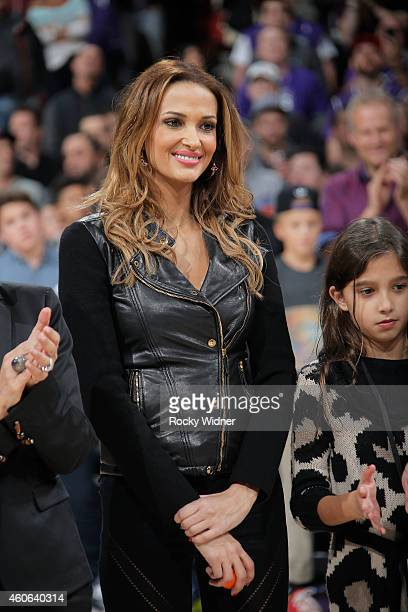 Aleka Kamila wife of former Sacramento King Peja Stojakovic watches as her husbands jersey is retired during halftime against the on December 16 2014...