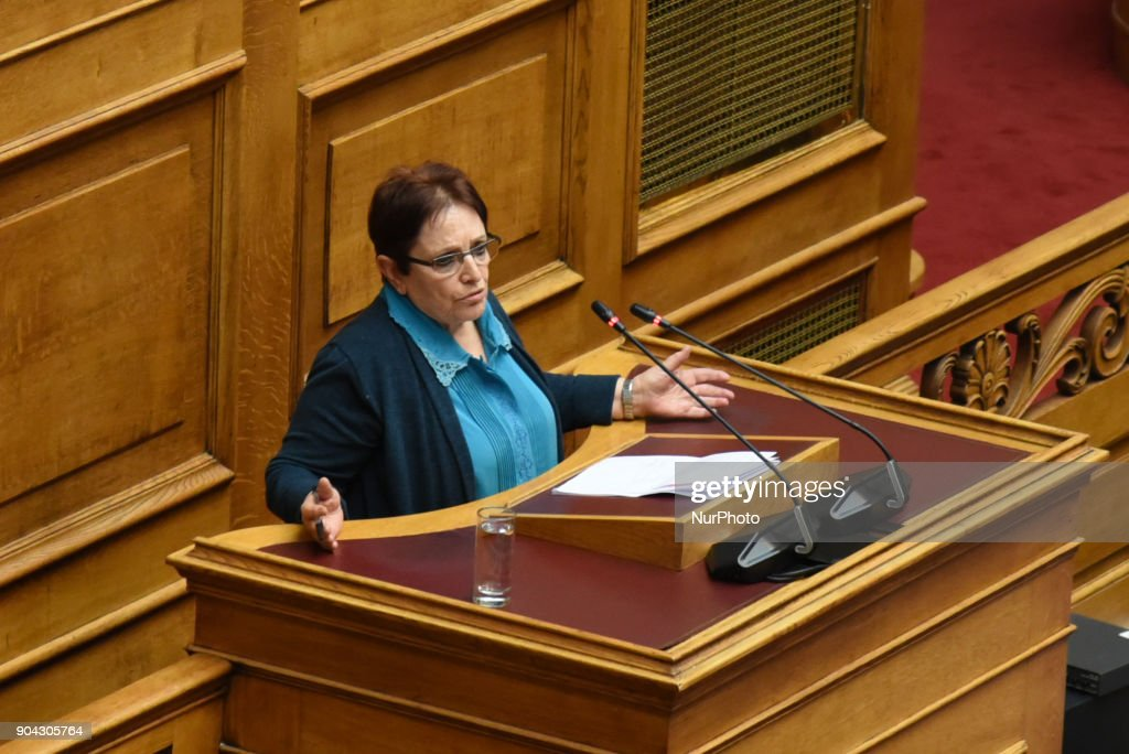 Aleka Papariga, communist lawmaker and former General Secretary of the Communist Party of Greece at the Hellenic Parliament in Athens on January 12, 2018 during a discussion about an urgent draft law for the prerequisites of the third inspection of the third credit package for Greece.