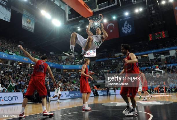 Aleks Maric, #6 of Panathinaikos Athens performs a slam dunk during the Turkish Airlines EuroLeague Final Four Semi Final match between CSKA Moscow...