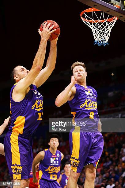 Aleks Maric of the Kings rebounds during the round three NBL match between the Sydney Kings and the Illawarra Hawks at Qudos Bank Arena on October 24...